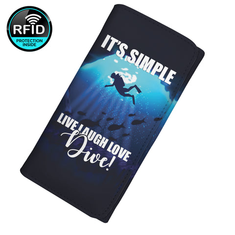It's Simple Live Laugh Love Dive Women's Clutch Purse Wallet