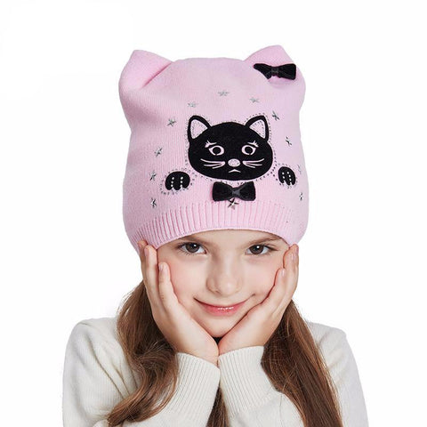 Cotton Knitted Cat Beanie for Girls