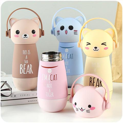 Eco-Friendly Kid Baby Cat Cartoon Thermos Water Bottles
