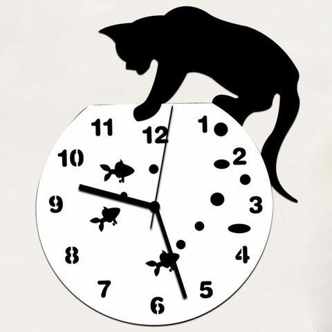 Naughty Cat Acrylic Wall Clock