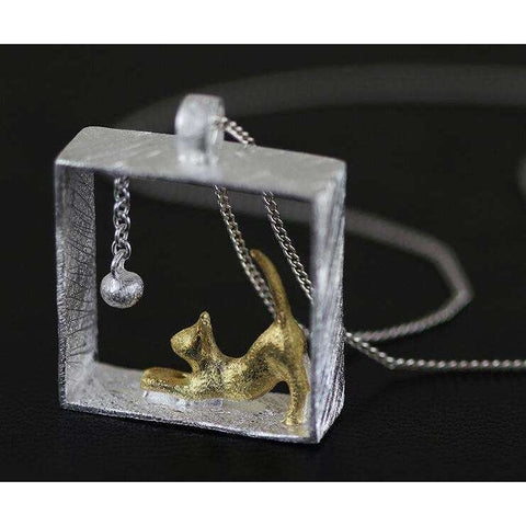 Cat Pendant Necklace | 925 Sterling Silver