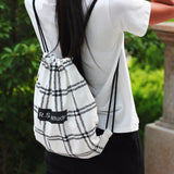 Cute Canvas Checked Striped Cat Drawstring Backpack
