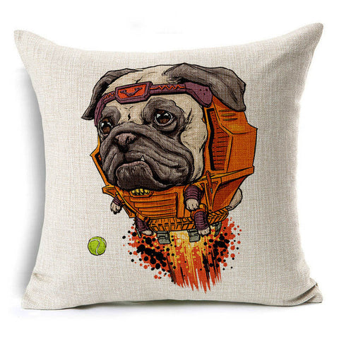 Pug Robot Pillowcase Cover