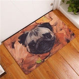 Pug in Leaves Printed Mat