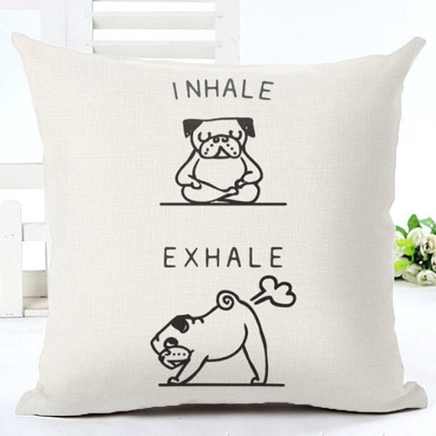 Funny Inhale Exhale Pug Pillowcase Cover