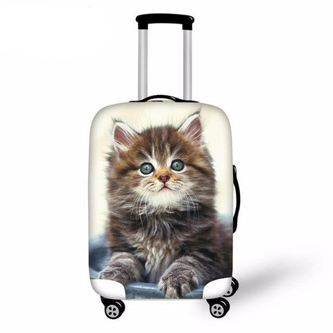 Elastic Kawaii Cat Luggage Cover