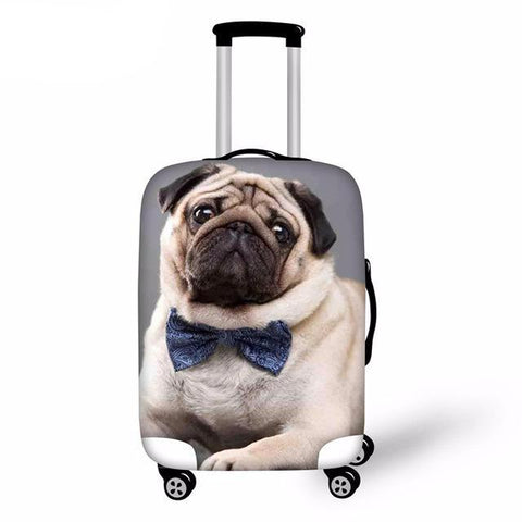 Pug with Bow Tie Elastic Luggage Cover