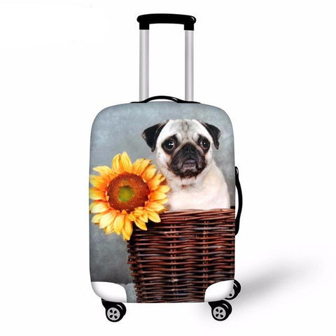 Pug with Sunflower Luggage Cover