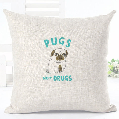 Pugs Not Drugs Pillowcase Cover