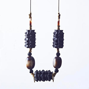 Polly seed necklace, black and brown