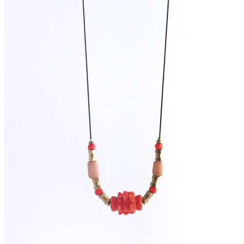 Orange colour resin coated necklace small