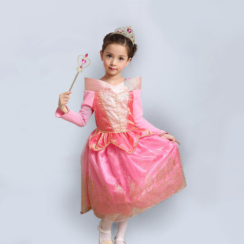 Princess Costume - Coral Pink Bubble Gown Skirt Aurora Dress