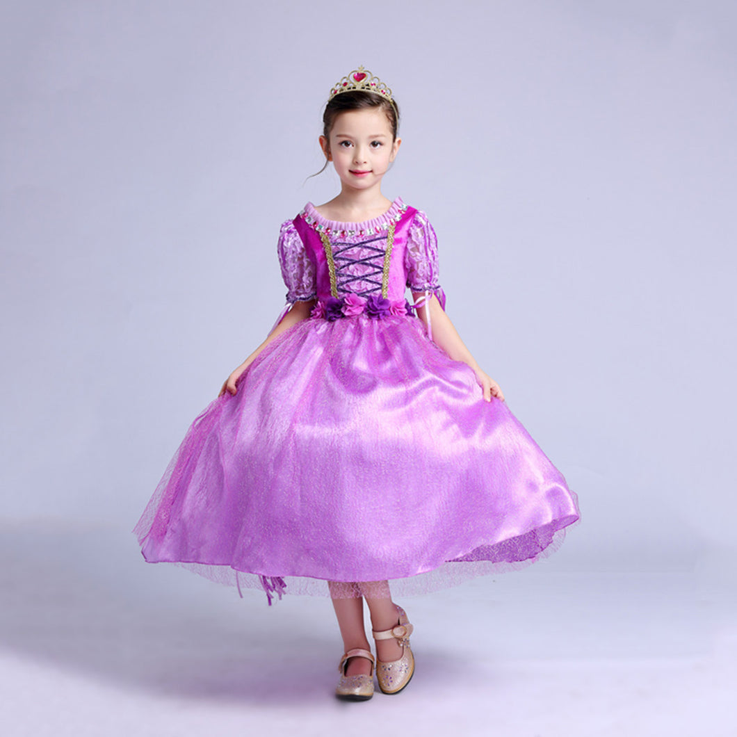 Princess Costume - Purple Short Sleeve Bubble Gown Skirt Rapunzel Dress - Apparel & Accessories - Clothing Activewear - Dance Dresses, Skirts & Costumes - PlayAge