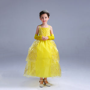Princess Costume - Yellow Bubble Gown Skirt Belle Dress