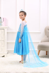 Princess Costume - Icy Blue Gown Skirt Elsa Dress with Gauze Veil - Apparel & Accessories - Clothing Activewear - Dance Dresses, Skirts & Costumes - PlayAge