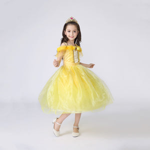 Princess Costume - Canary Yellow Bubble Gown Skirt Belle Dress