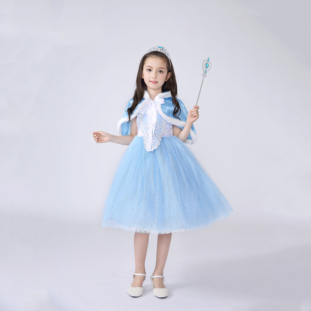 Princess Costume - Pale Blue Bubble Gown Skirt Elsa Dress with Cape - Apparel & Accessories - Clothing Activewear - Dance Dresses, Skirts & Costumes - PlayAge
