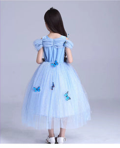 Princess Costume - Blue Short Sleeve Bubble Gown Skirt Cinderella Dress - Apparel & Accessories - Clothing Activewear - Dance Dresses, Skirts & Costumes - PlayAge