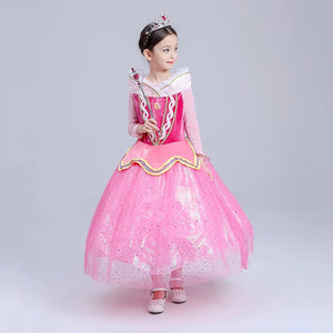 Princess Costume - Barbie Pink Long Sleeve Bubble Gown Skirt Aurora Dress