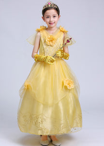 Princess Costume - Luminous Yellow Short Sleeve Bubble Gown Skirt Belle Dress - Apparel & Accessories - Clothing Activewear - Dance Dresses, Skirts & Costumes - PlayAge