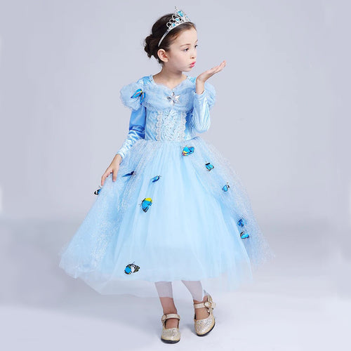 Princess Costume - Blue Long Sleeve Bubble Gown Skirt Cinderella Dress