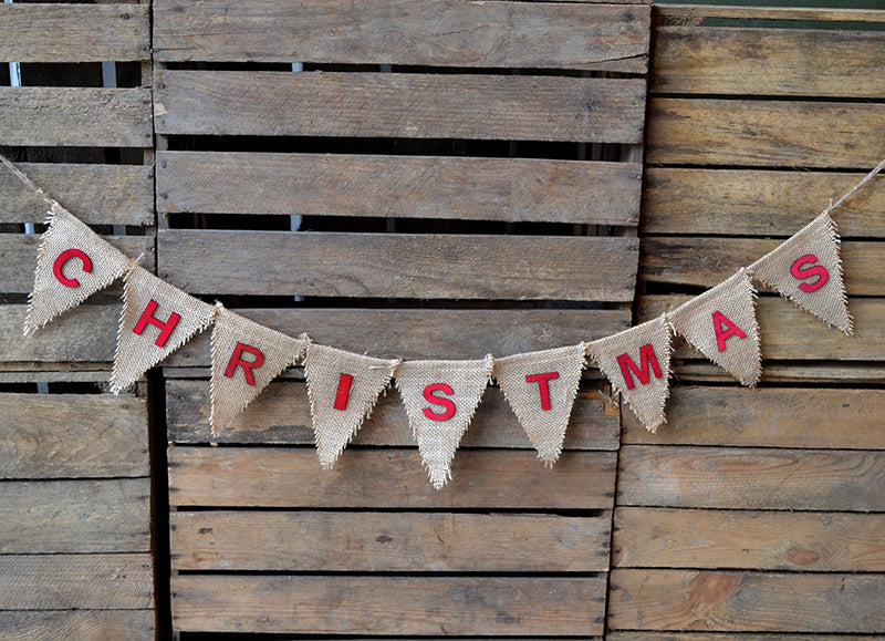 Christmas Hessian Flag Bunting