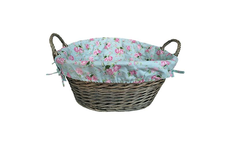 Large Antique Willow Basket With Rose Cottage Lining