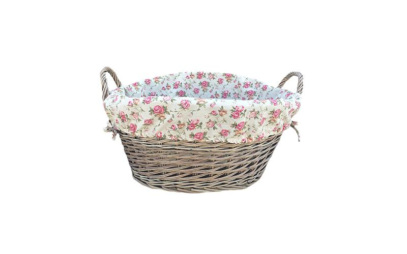 Large Antique Finish Willow Basket With Rose Garden Lining
