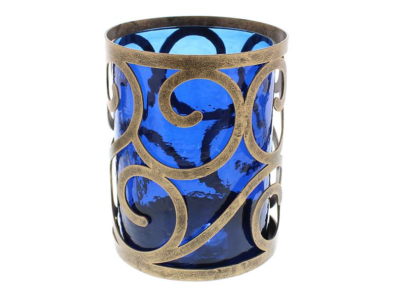 Blue-Glass-And-Brass-Effect-Hurricane-Candle-Holder