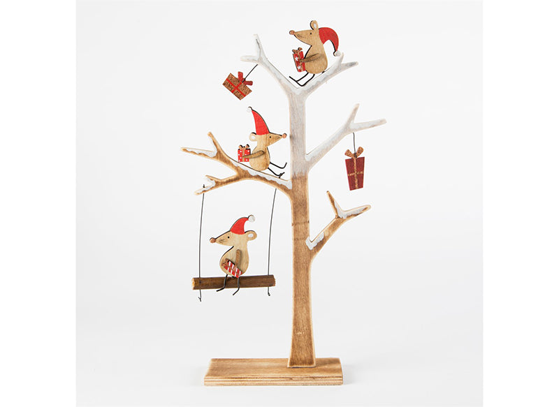 Christmas Mice Wooden Tree