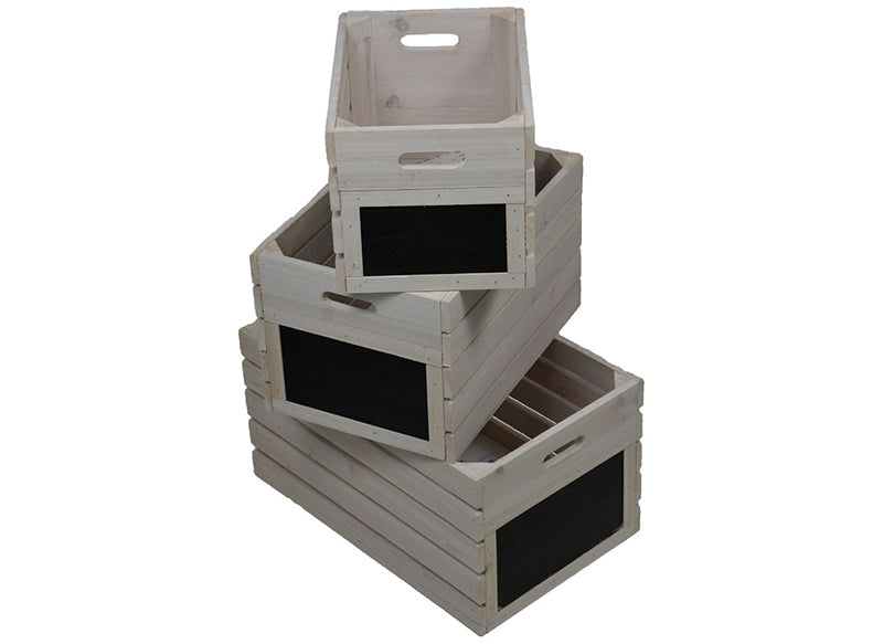 Light Vintage Wooden Crates - 3Set