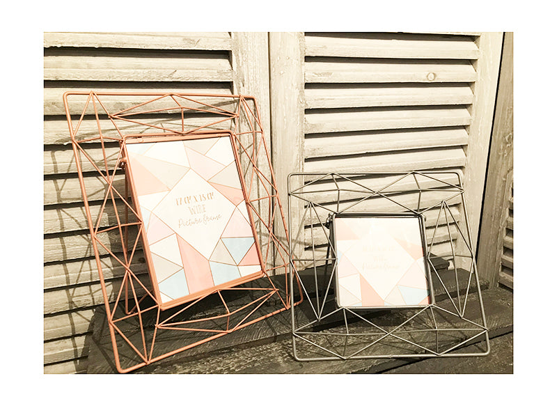 Grey Geo Wire Photoframe