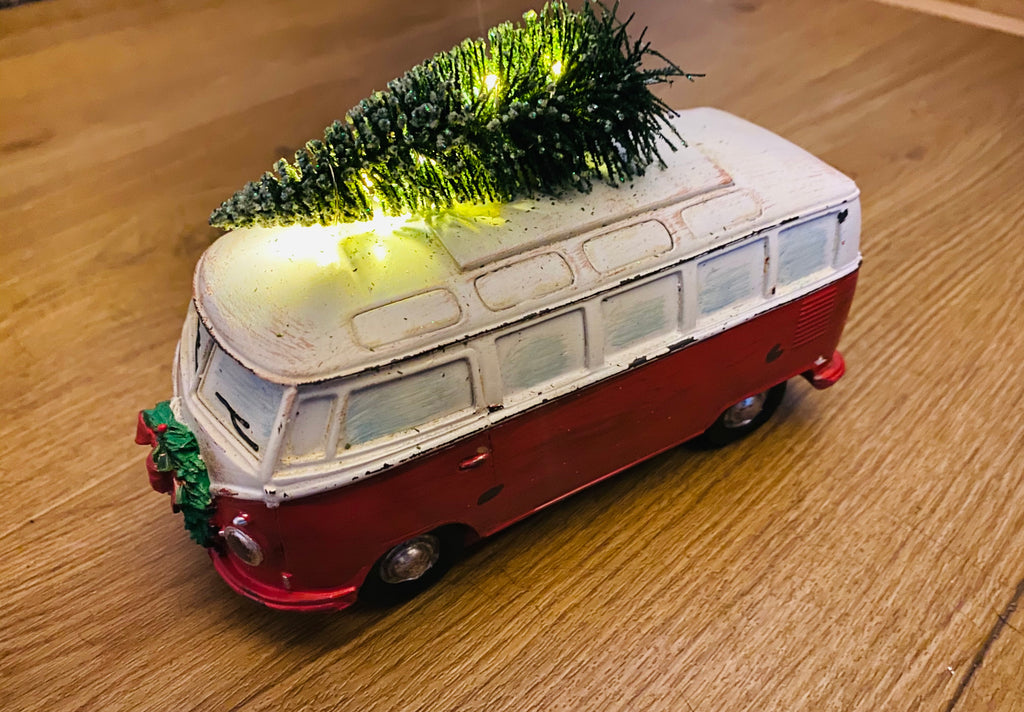 Festive camper van with light up tree
