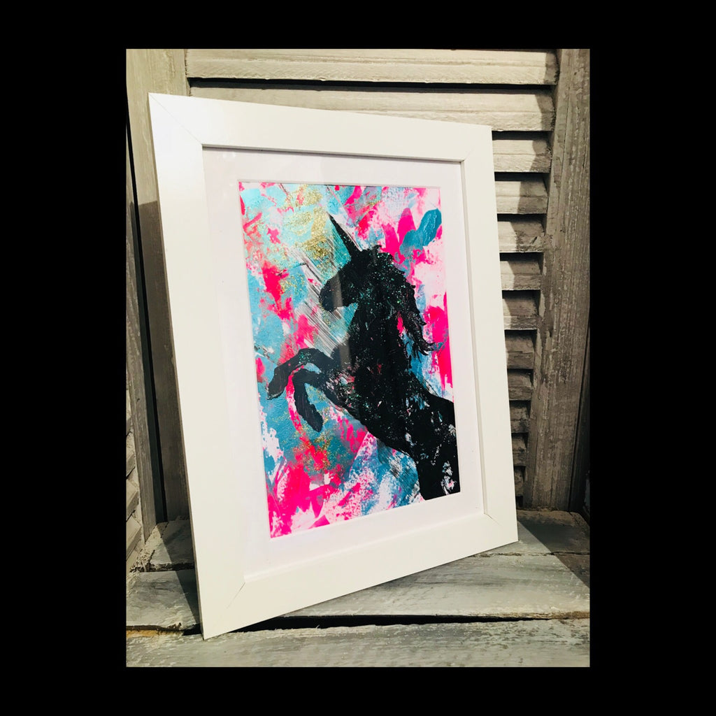 Unicorn Painting in White Frame