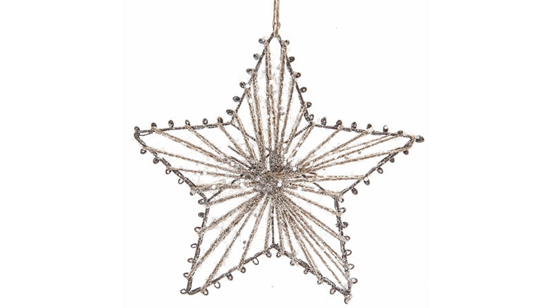 Iron Star With Glitter Jute