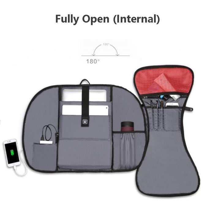 Fully open USB Laptop backpack