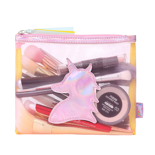 MESH ZIPPER UNICORN PRINTED COSMETIC MAKEUP TOOL KIT