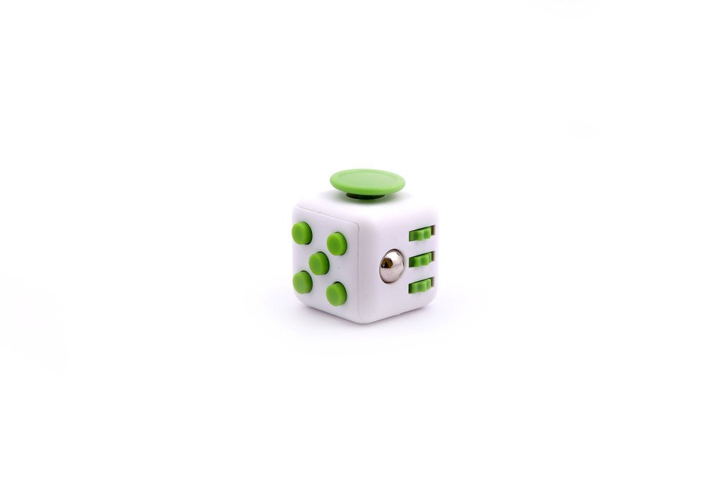 white and Green Fidget Cube