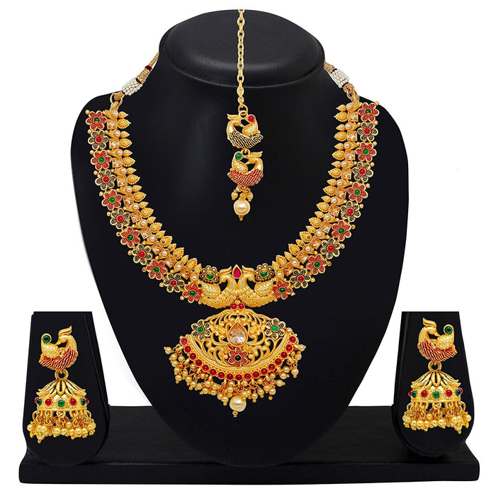 Gold Plated Jewellery Set for Women (Golden)