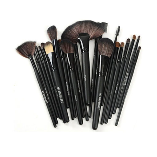 24 PIECES JET BLACK MAKE UP BRUSH SET