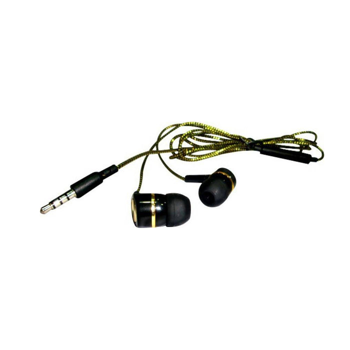 Gold Series Gold Braided soft Wired Headset with Mic  (Black Golden)