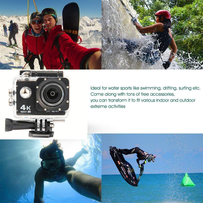 4K Ultra HD Water Resistant Sports 16MP Action Cam with 2 Inch Display (Black)