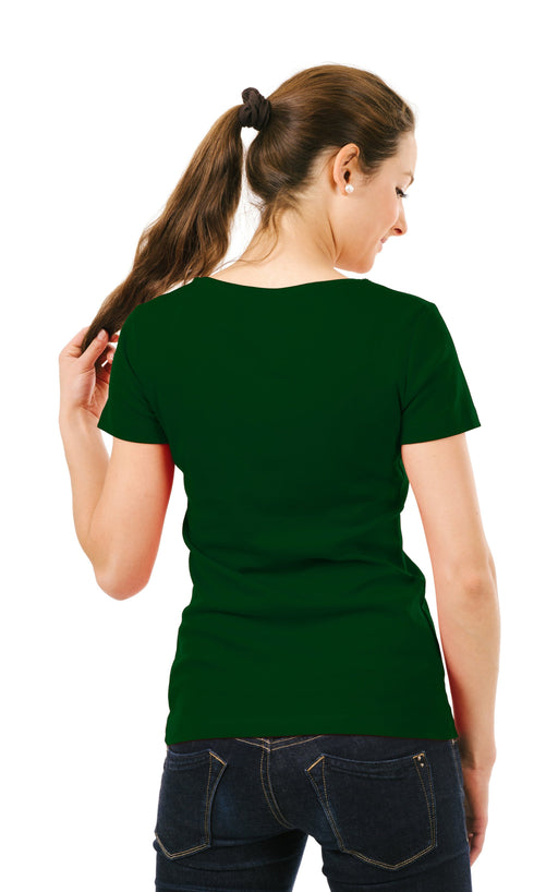 Women's Plain T-Shirt Bottle Green