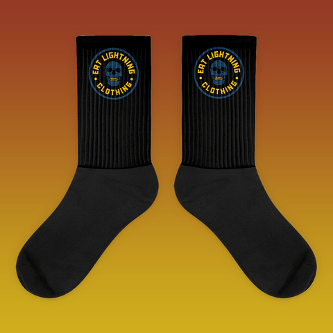 Eat Lightning Clothing Accessories M Black and Blue Skull Socks
