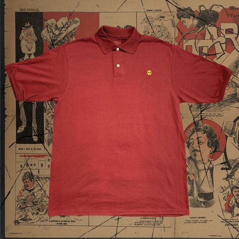 Eat Lightning Clothing Shirts S Skull Polo Maroon