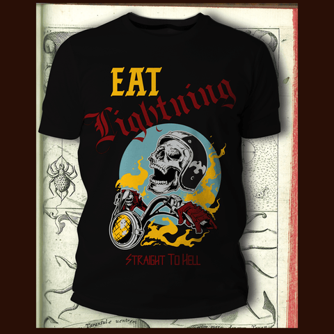 Eat Lightning Clothing Shirts XS Straight To Hell Vintage Black Short Sleeve T-Shirt