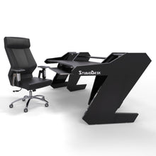 PRO LINE Classic Desk all Black and Keyboard pull out option + ERGO 2.0 Studio Chair - Bundle