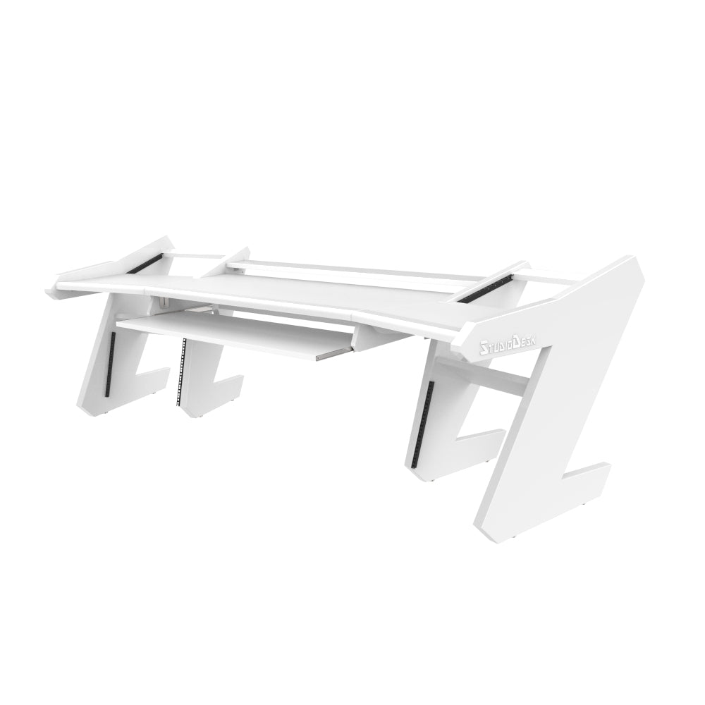 PRO LINE SL Desk All White and Pull out keyboard tray Bundle