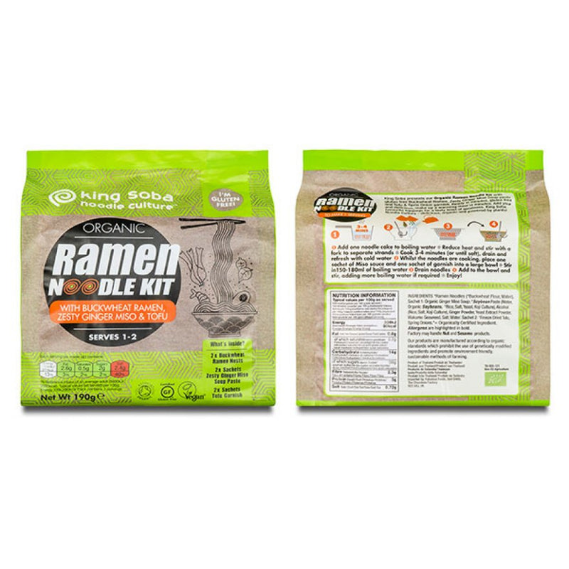 King Soba Organic Ramen Noodle Kit with Buckwheat, Ginger, Miso and Tofu