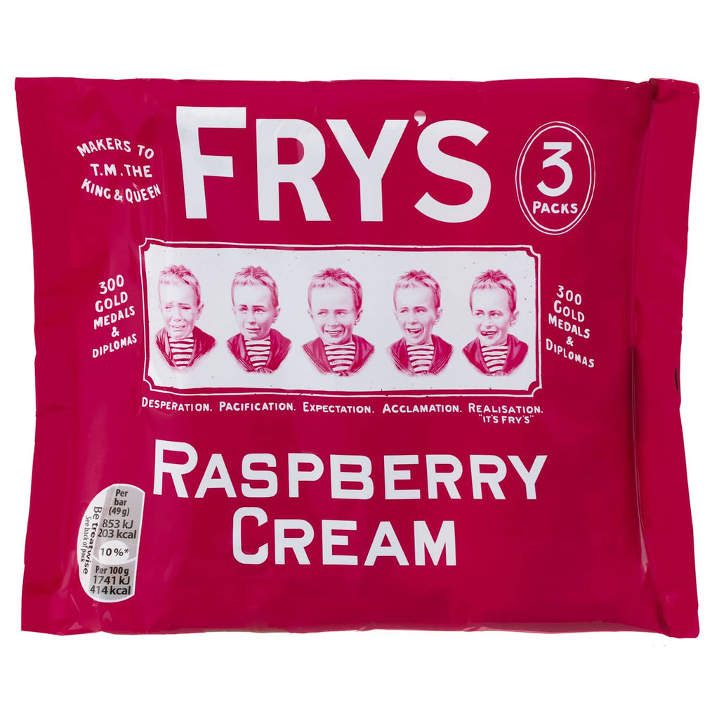 Fry's Raspberry Cream - 3 bars per pack BEST BEFORE 31.03.2021